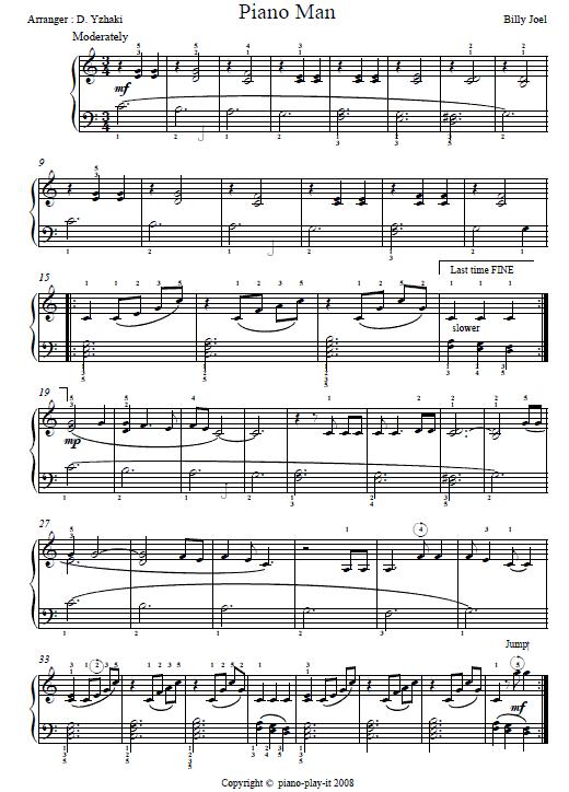 Piano man chords
