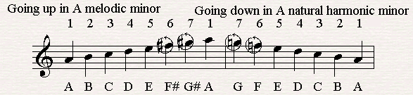 Going up in A melodic minor and down in A natural minor.