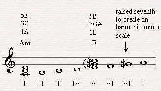 By raising the seventh note we can now form a dominant seventh chord over a harmonic scale.