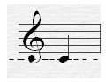 An image of a C note on the treble staff (With the ledger line).