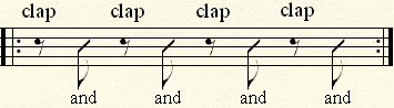 Clapping on the On-Beats while counting only the offbeats aloud.