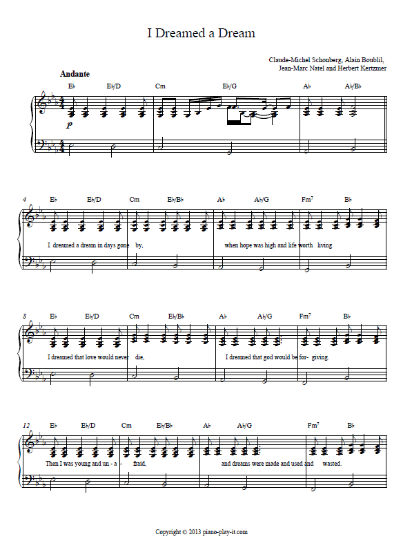 I Dreamed a Dream piano sheet