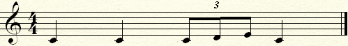 Narrowing the previous musical phrase to one bar of four quarters with a triplet.