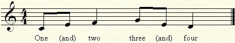 Counting two eighth notes in a quarter.