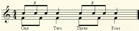 Comparing two eighth notes to three eighth notes over one quarter.