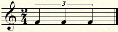 A triplet of three equal quarter notes over a half note.