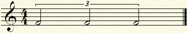 A triplet of three equal half notes over a whole note.