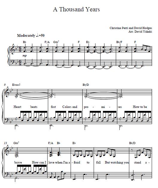A Thousand Years Christina Perri piano sheet