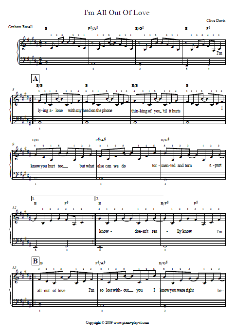 All Out of Love Air Supply Piano Tab