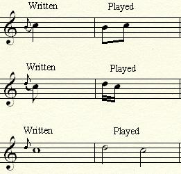 Examples of various Appoggiaturas.