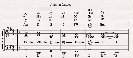 The diatonic circle chord progression in autumn leaves.