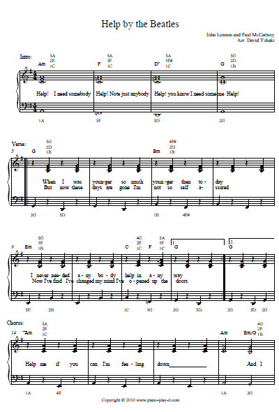 Beatles Help Piano Tab