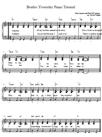 Beatles Yesterday Piano Tab