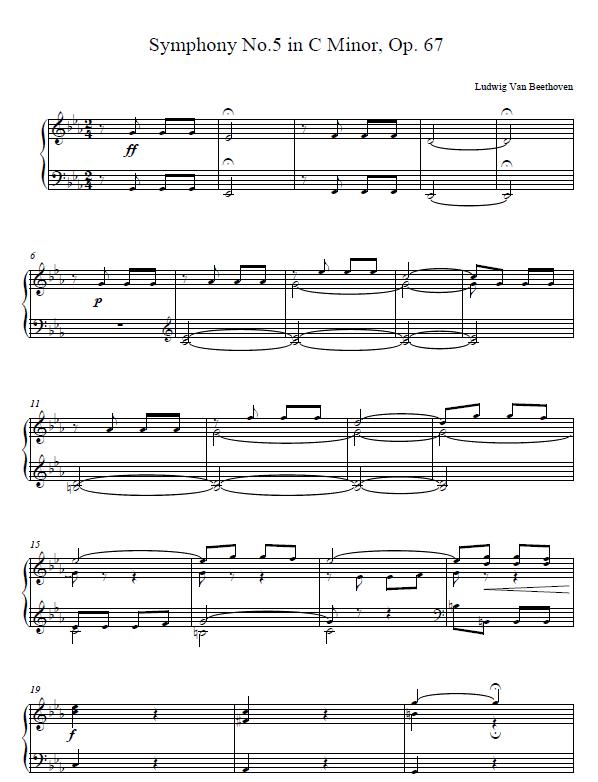 Beethoven 5th Symphony Piano Sheet
