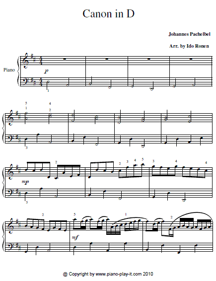Here's a free piano sheet the Canon in D for beginners .
