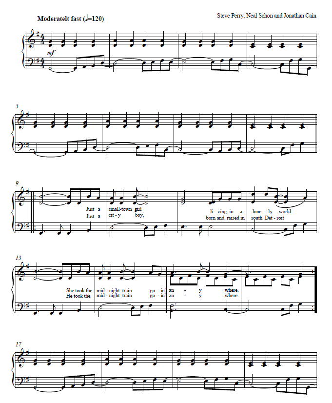 Don't Stop Believing Sheet Music