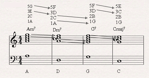 Here it's possible to see how easy diatonic seven chords or moving in falling fifth on the piano.