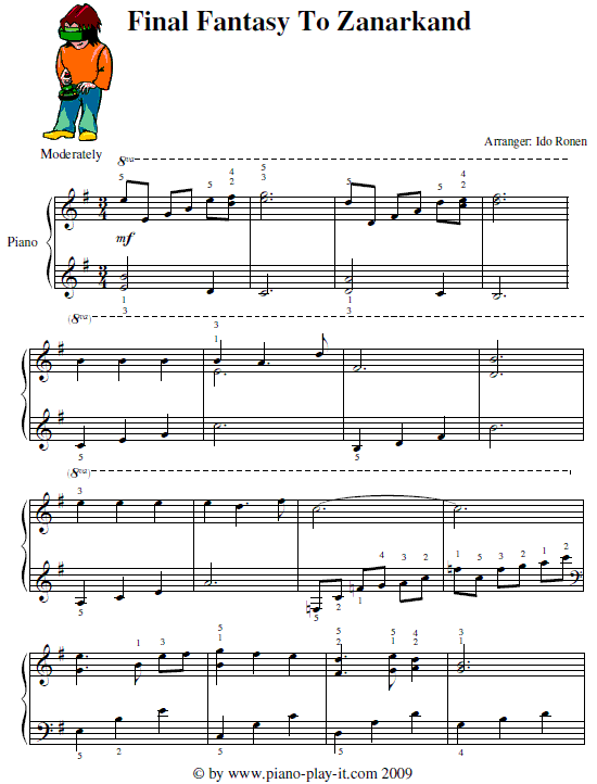 Free Final Fantasy Piano Sheet Music - Zanarkand