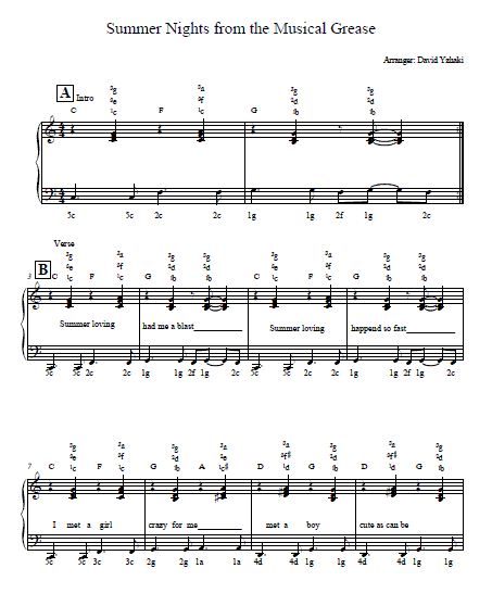 Grease Summer Nights Piano Tab