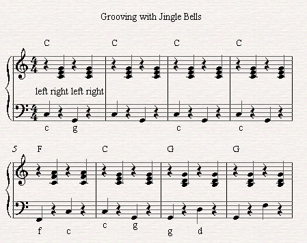 A few bars based on the pop piano groove on Jingle Bells.