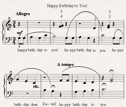 Birthday Piano Sheet