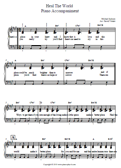 Heal the World Piano Tab.