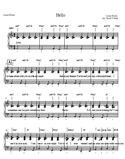 Piano u00bb Piano Chords Hello Adele - Music Sheets, Tablature, Chords and Lyrics