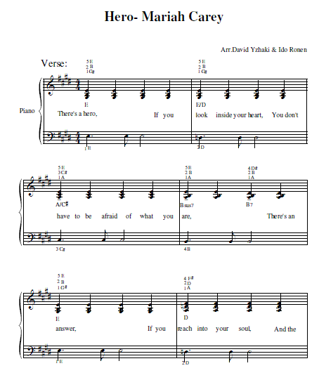 Mariah Carey Hero Piano Tab
