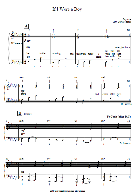 If I Were a Boy Piano Tab