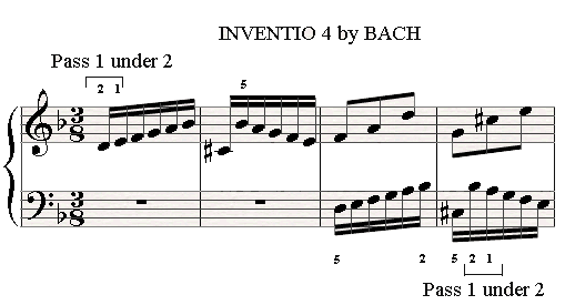 Passing 1 under 2 in the 4th Invention by Bach.