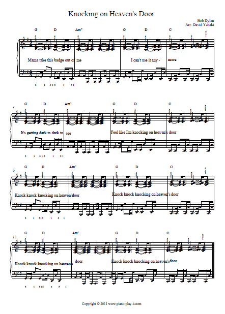 Knocking on Heaven's Door Piano Tab