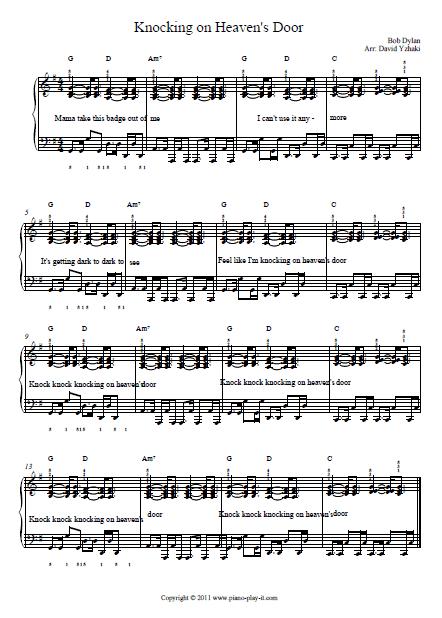 Knocking On Heavens Door Piano Tutorial