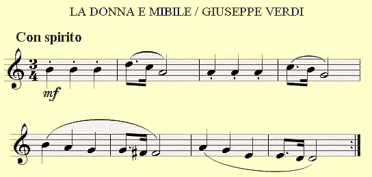 Dotted Eighth Notes in La Donna e Mobile