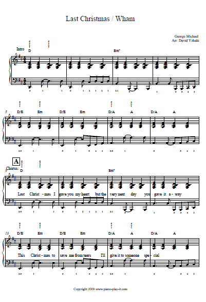 Last Christmas Piano Tab