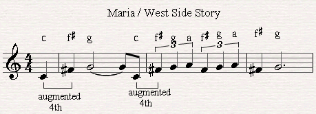 A melodic raised fourth in the song Maria (West side story).