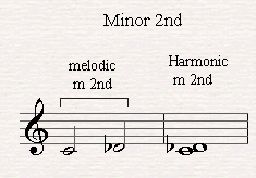 A melodic and harmonic minor second.