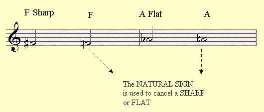 The Natural Sign cancels a sharp or a flat.
