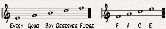 A nice way to remember the notes on the lines (E,G,B,D,F=Every Good Boy Deserves Fudge) and note between the lines = FACE)