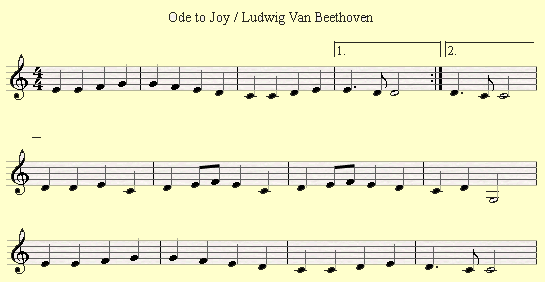 An example of using the first and second ending in Ode to Joy by Beethoven