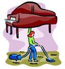 Piano Care woman cleaning dust