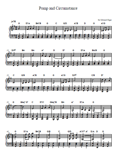 Pomp and circumstance sheet music and piano tutorial for Pomp and circumstance