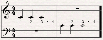 a rhythm pattern with a whole rest.