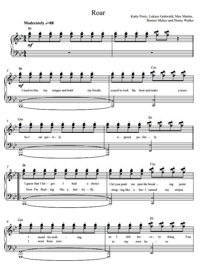 Katy Perry Roar Piano Sheet.