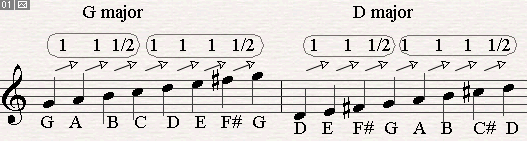 G major scale and D major scale