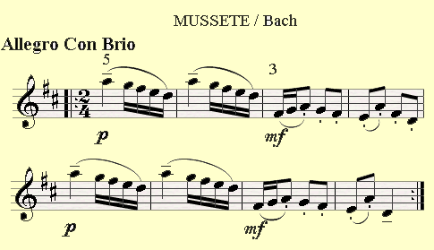 Mussete by Bach is having sixteenth notes in different vatiations.