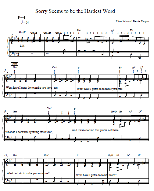 Old Fashioned Sorry Seems To Be The Hardest Word Chords Piano Sketch