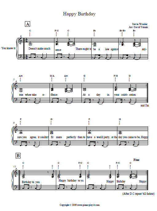 Stevie Wonder Happy Birthday Piano Tab