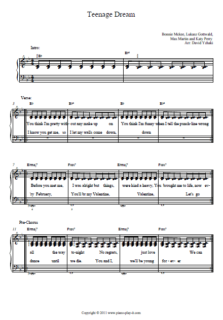 Teenage Dream Piano Tab