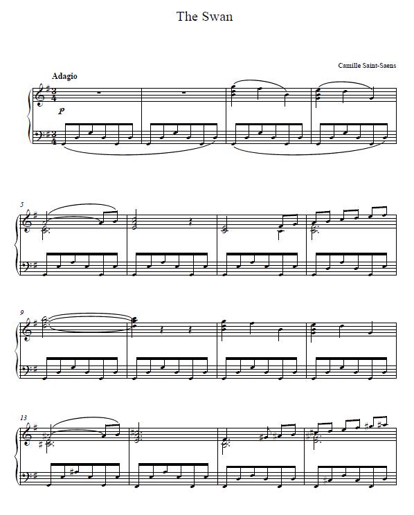 The Swan Saint Saens PIANO SHEET.