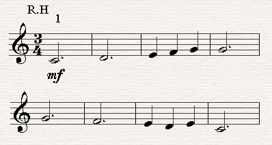 A dotted half note.